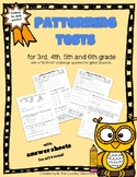 Patterning Test  or  Patterns Quiz - split grades 3, 4, 5, 6
