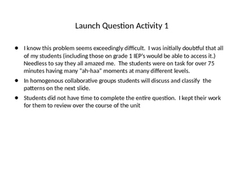Patterning Unit: Critical Thinking and Problem Solving