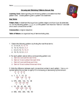 Patterning Worksheets and Test