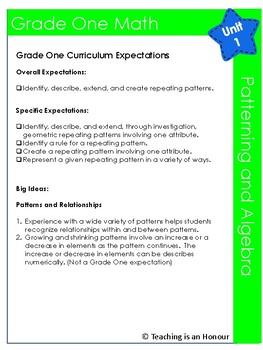 Patterning and Algebra Grade One