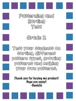 Patterning and Sorting Test for Grade 2