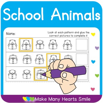 School Monkey Patterns Cut and Glue