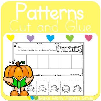 Pumpkin Patterns Cut and Glue Worksheets