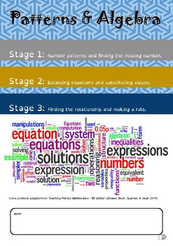 Patterns & Algebra Booklet