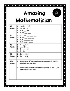 Patterns Algebra Cooperative Math Games for Centres