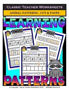 Patterns-Create Animal Patterns AB/ABB/ABC-Kindergarten to Grade 1 (1st Grade)