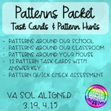 Pattern Task Cards with Pattern Hunts! Great Homework!