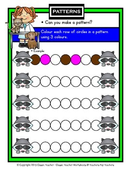 Colour the Circles in a Pattern-(2 or 3 Colours)-Kindergarten to Gr. 1 (1st Gr.)