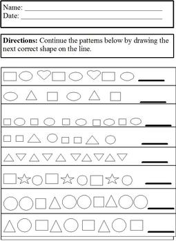 Patterns: Continue Basic Shape Patterns; Differentiated for Special Ed