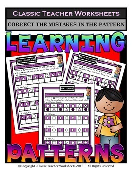 Patterns - Correct Mistakes in the Patterns -Kindergarten