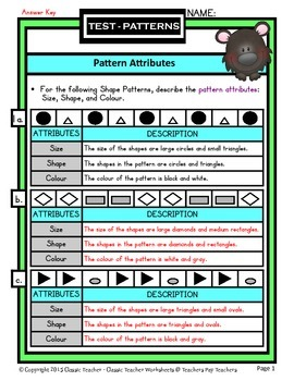 Describe Pattern Attributes: Size/Shape/Colour-Grades 3-4 (3rd-4th Grade)