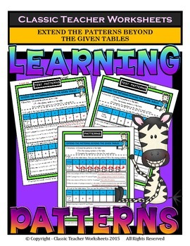 Patterns-Extend the Patterns Beyond The Given Tables-Grades 3-5 (3rd-5th Grade)