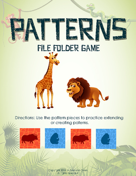Patterns File Folder Game - Zoo Animals