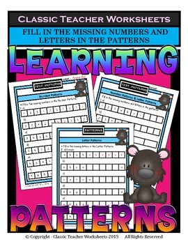 Fill in the Missing Numbers & Letters in the Patterns-Grades 1-2 (1st-2nd Grade)