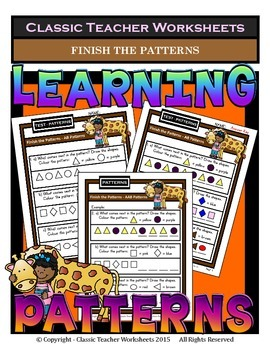 Finish Patterns - AB, AAB, ABB, ABC Patterns-Kindergarten to Grade 1 (1st Grade)