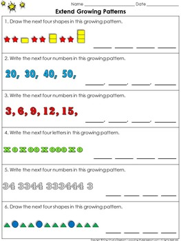 Patterns: Growing Patterns (Extend) Practice Sheets - King