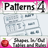 Patterns with In Out Tables Missing Numbers and Shapes Math Center Activity