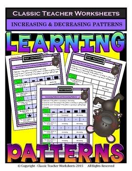Increasing & Decreasing Patterns - Shapes & Numbers - Grades 1-2 (1st-2nd Grade)