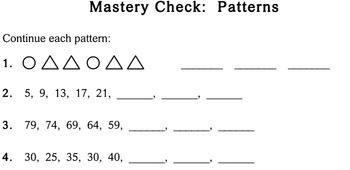 Patterns, 2nd grade - worksheets - Individualized Math