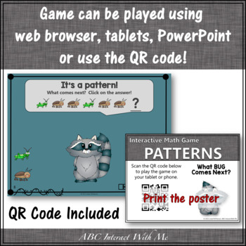 Patterns Interactive Math Game with Bugs {Dancing Raccoon}