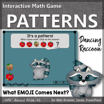 Patterns Interactive Math Game with Emojis {Dancing Raccoon}