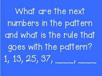 Patterns Jeopardy Game 4.OA.C, 4.MD.4, 3.OA.D.8, 3.MD.A.1, 5.OA.B.3
