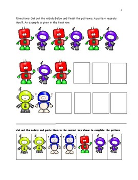 Patterns: Let's All Do the Robot Activities and Worksheets