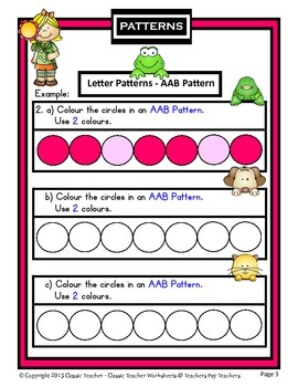Patterns Create Letter Patterns Ab Aab Abb Abc Kindergarten To Gr 1 1st Gr