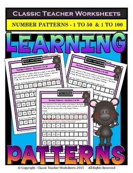 Number Patterns-Numbers 1 to 50 and Numbers 1 to 100-Grades 3-4 (3rd-4th Grade)