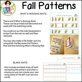 Fall Activities ● AB Patterns ● No Prep Worksheets ● Fall Pattern Mats ● Fall