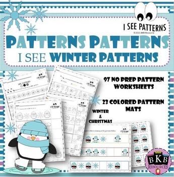 Winter Math Centers ● AB Patterns ● No Prep Worksheets ● Winter Pattern Mats