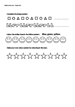 Patterns Pre-Test Grade 3/4