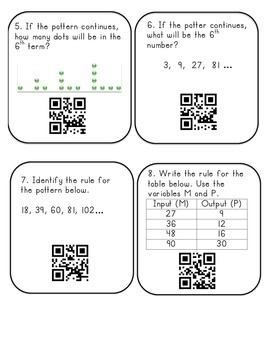 Patterns QR Code Task Cards
