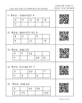 Patterns QR Code Worksheets Supports Common Core Standard 5.OA.3 and  4.OA.5