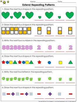 Patterns: Repeating Patterns (Extend) Practice Sheets - King Virtue