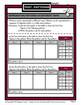 Patterns -Representing Patterns in Different Ways- Grades 4-5 (4th-5th Grade)