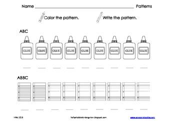Patterns - School Themed (AB, ABB, ABC, ABBC, AAB, AABB)