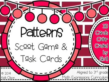 Patterns Scoot Game and Task Cards: 3rd Grade