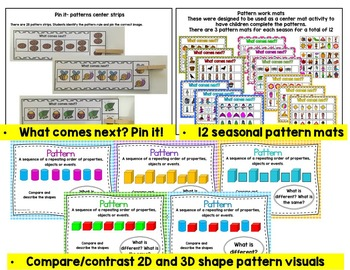 Patterns, Sequence Activity Pack-Center Games, Worksheets, Numeracy