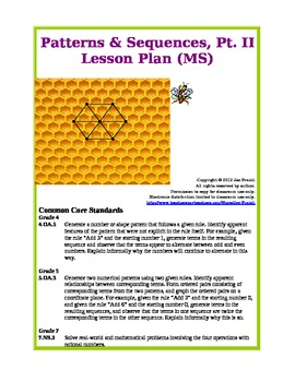 Patterns sequences pt ii middle school lesson plan - Set design lesson plans middle school ...