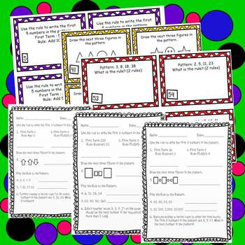 Patterns Task Cards & Printables 4th Grade Math Common Core Aligned