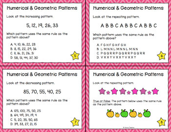 Numerical and Geometric Patterns Task Cards