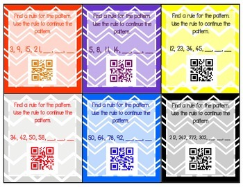 Patterns Task Cards with QR Code Answers!