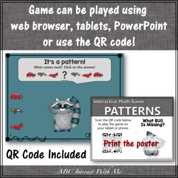 Patterns What's Missing? Interactive Math Game with Bugs {Dancing Raccoon}