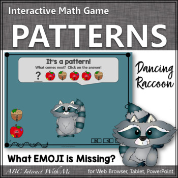 Patterns What's Missing? Interactive Math Game with Emojis {Dancing Raccoon}