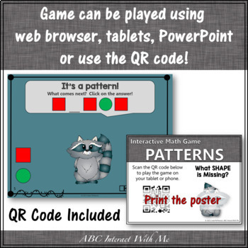 Patterns What's Missing? Interactive Math Game with Shapes {Dancing Raccoon}