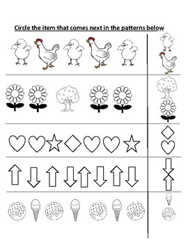 Patterns Worksheet 1 (AB -AAB)