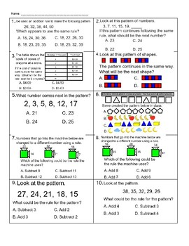 Patterns Worksheet 2