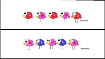 Patterns activity center Valentine's Day Birds theme español&English-patrones