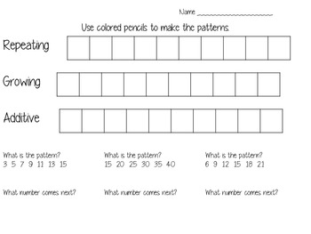 Patterns: additive, growing, repeating
